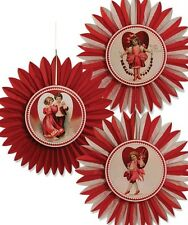 Bethany Lowe Set of 3 Valentine's Day Tissue Paper Rosettes Decorations