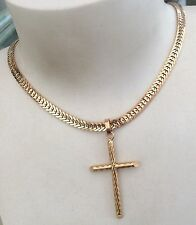 Stunning Ladies Heavy Vintage Solid 14ct Gold Fancy Chain With 14ct Gold Cross