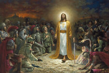 """36"""" TOP religious ART # Jesus Christ Advent War and Peace painting on CANVAS"""