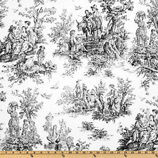 Drapery Upholstery Fabric 100% Cotton Duck Colonial Toile - Black / White