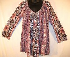 $59 LUCKY BRAND Blue/Mauve Multi SHIRT TOP 3/4 Sleeve SMALL Loose Fit
