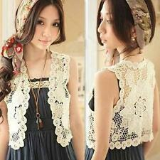 Hot #S Women's Hollow Lace Sleeveless Top Blouse Vest Shirt Crochet Waistcoat