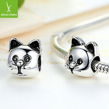 2016 European Cute Cat Silver Charms Bead Fit 925 Necklace,Bracelets,Snake Chain