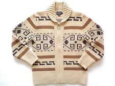 Pendleton 100% Wool Beige Southwestern Big Lebowski Westerly Cardigan Sweater L
