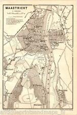 Antique map Maastricht  plan plattegrond 1905 carte karte St Pieter Heugem