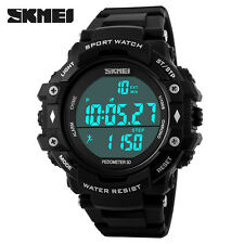 SKMEI SHOCK Pedometer Wristwatch LED Digital Alarm Outdoor 50M Waterproof Watch