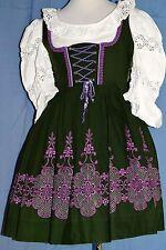 Tiroler Dirndl grün-lila Vintage Balkonett Gr 36 bestickt + Bluse + Schürze
