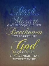 BACH MOZART BEETHOVEN GOD PRAY QUOTE RELIGIOUS TYPOGRAPHY BLUE POSTER QU207A