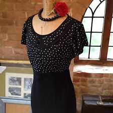 NEXT Vintage 40s 50s Style Polka Dot Spot Peter Pan Pinup Wiggle Pencil Dress 10