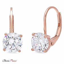 1 ct Round Cut Solitaire Stud Earrings in Solid 14k Real Rose Gold Leverback