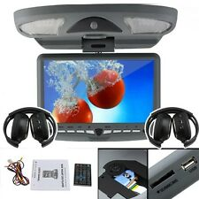 "Beige Ouku 9"" Roof Mount Overhead Flip Down DVD Player IR FM Transmitter+Headset"