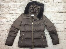 Calvin Klein Coat Womens S Hooded Faux Fur Trim Brown Quilted Small New