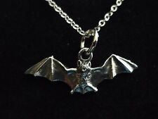 """Country Life Bat w2 Made From Fine Pewter On 24"""" Silver Plated Curb Necklace"""