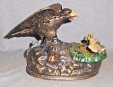 AMERICAN EAGLE & CHICKS CAST IRON MECHANICAL BANK Book Of Knowledge Collection
