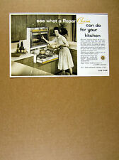 1963 Roper Charm Gas Range built-in roll-out sliding cooktop vintage print Ad