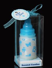 Baby Bottle Candle Blue in Gift Box Baby Shower Christening Favour Cake Topper
