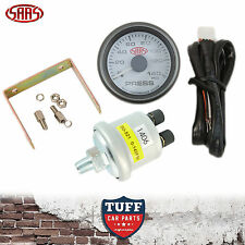 SAAS Oil Pressure Gauge White Face Dial 52mm Multi Colour + Sender & Fitting Kit