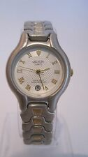 Vintage Croton Women's 2 Tone 23k Gold Plated Watch With Date at 6 O'clock Rare