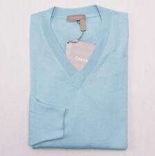 NWT $995 CRUCIANI Aqua Blue Superfine Cashmere-Silk Sweater Slim Eu 48 (S)