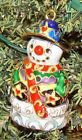 4377 - Hand Painted Cloisonne, Baked Enamel Snowman Ornament