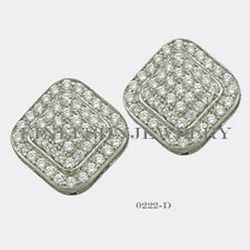 Sterling Silver 925 Squircle Stud Screwback Earrings with Clear CZ (9mm) #0222D
