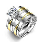 Women Men Wedding Pair Rings Stainless Steel Double Bridal Party Holiday Ring