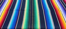 Mexican Blanket Sarape Saltillo Serape Multi-Colored w/ Navy Blue Medium 74 X 36