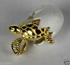 925 Sterling Silver Hawaiian Sea Turtle YGP Egg Shell Golden Baby Move Pendant