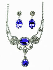 Bridal CZ Sapphire Blue Crystal Necklace Earring Set Royal Cubic Zirconia NEW