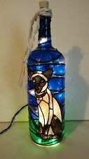 Siamese Cat Wine Bottle Lamp Hand Painted Lighted Stained Glass look