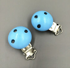 5pcs Wooden Alloy Blue Baby Pacifier Clip Round 4.4cmx 2.9cm