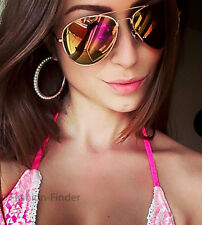 Red Hot Pink Yellow Orange Mirror Gold Frame Aviator Fashion Sunglasses Glasses