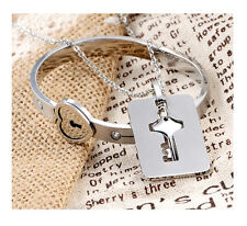 Couple Titanium Steel Lock Bangle Bracelet & Key Pendant Love Sets Necklace