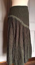size 12 green fine cord long skirt