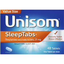 Unisom Sleep Tabs (doxylamine succinate 25mg) 48ct -FREE WORLDWIDE SHIPPING-