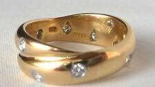 $2975 TIFFANY 18K Gold+Platinum Etoile Diamond Twist X Wedding Band Ring~Sz 5.75