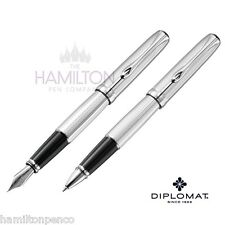 DIPLOMAT EXCELLENCE PEN GIFT SET - Guilloch Stripes fountain pen & rollerball