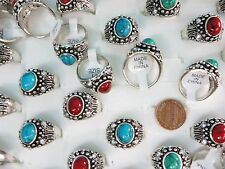 US SELLER-15pcs vintage style jewelry turquoise stone costume fashion rings