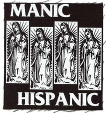 MANIC HISPANIC black mary flag CLOTH PATCH sew-on punk Free Shipping Everywhere!