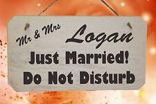 """Personalizzato matrimonio """"Just Married"""", """"non disturbare"""" Rustico in Legno Segno"""