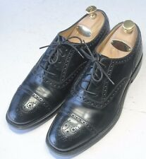 CHARLES TYRWHITT Sz 7.5 D Black Captoe Medallion England Dress Shoes
