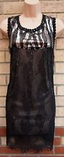 UTTAM LONDON FLORAL BLACK LACE SEQUIN CROCHET NECKLINE TUNIC SHIFT TEA DRESS L