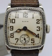 ANTIQUE c.1928 Elgin 14k WGF Mens Wrist Watch - Original NOS Unworn Cond w Box -