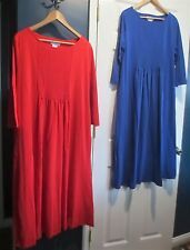 Women's X Large Lot of Two Cotton Neat Pleat Dresses  Red/Blue  NEW! The Paragon
