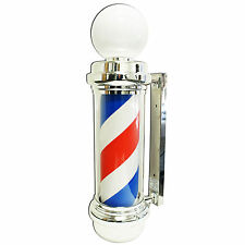 "Large Wide 34x10"" Barber Shop Pole Bulb Globe Light Hair Salon Open Sign Display"