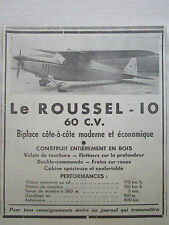 12/1938 PUB ROUSSEL 10 BIPLACE EN BOIS AVION TOURISME ORIGINAL FRENCH AD