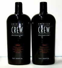 American Crew 3 in 1 Shampoo Conditioner Body Wash 33.8 oz Liter Set of 2