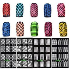 12Tips/Sheet 3D Nail Art Manicure Stencil Stickers Stamping Vinyls DIY Random
