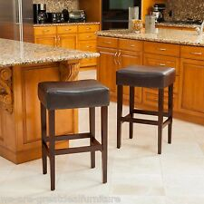 Set of 2 Espresso Brown Leather Backless Bar Stools