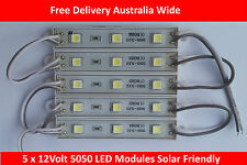 5 x 12v Waterproof 5050 LED Modules Strips,5050WM, Modern and Pure White